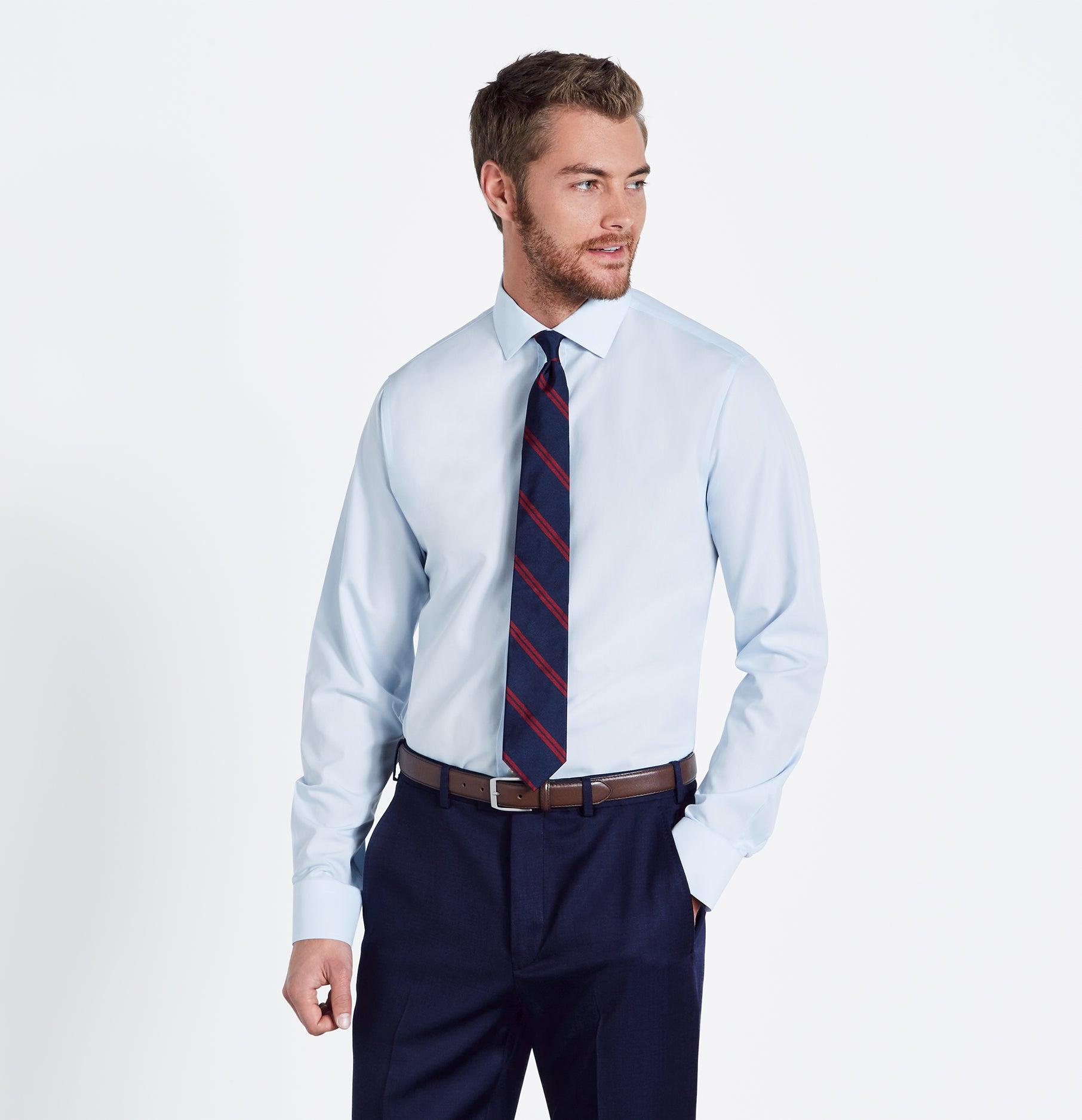 Blue dress shirt white tie