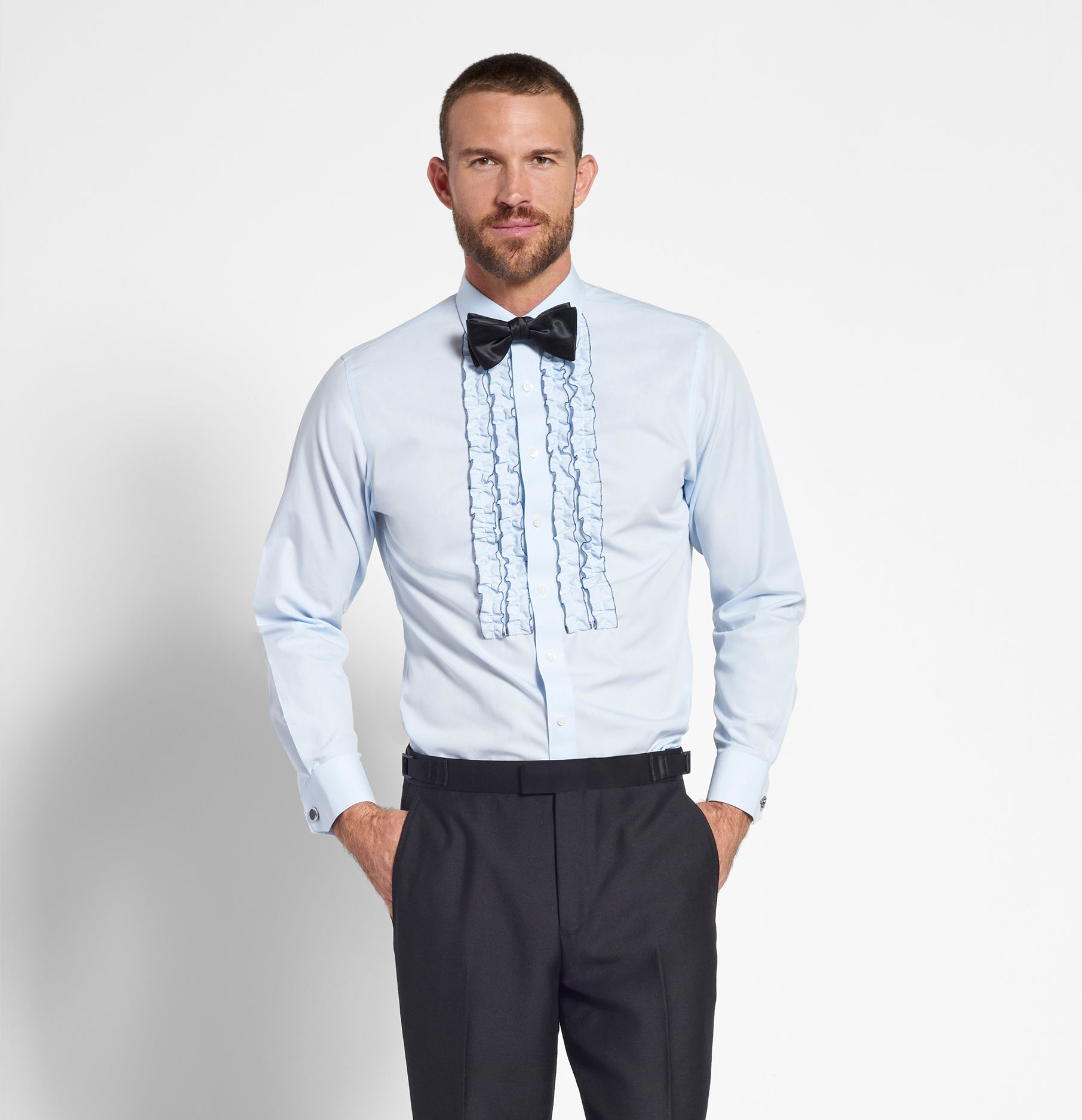 Blue Ruffle Tuxedo Shirt The Black Tux