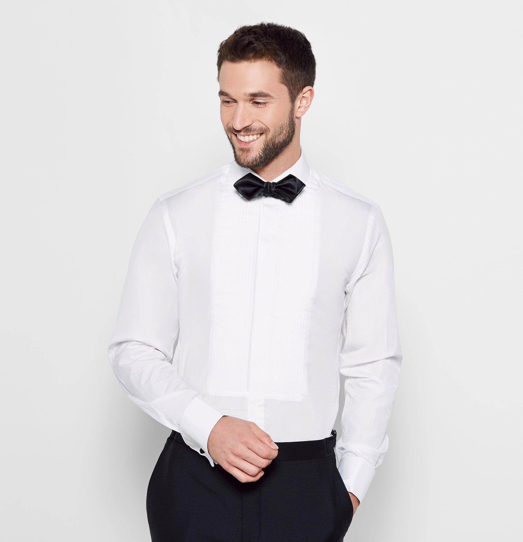 Ivory pleated tuxedo shirt kamos t shirt for Tony collar dress shirt