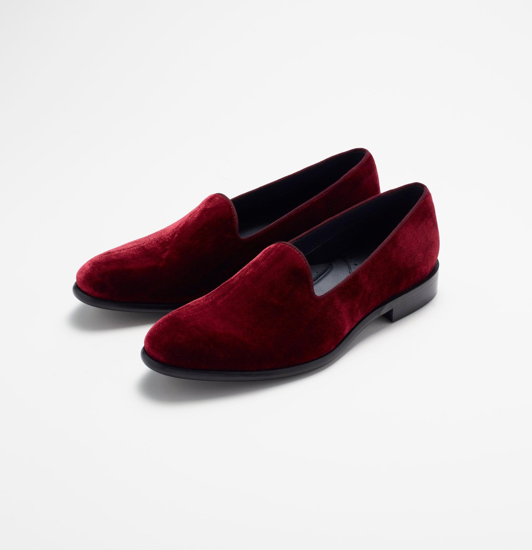 Burgundy Velvet Loafers