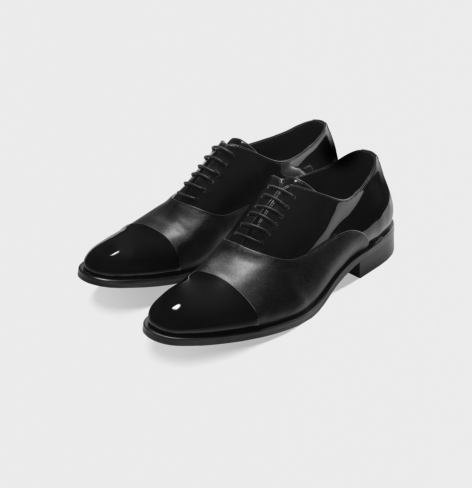 Cap Toe Shoes In Patent Calf