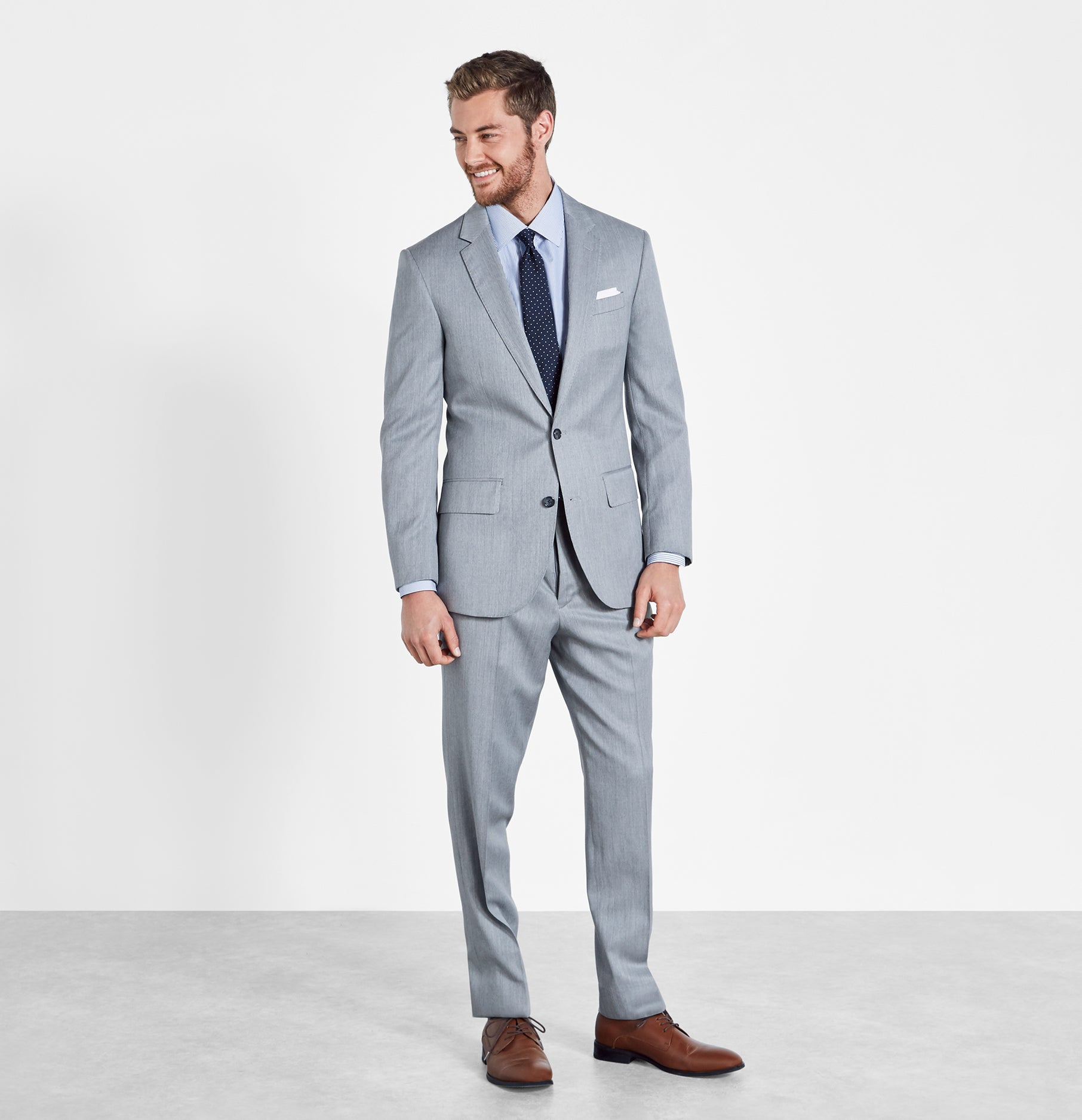 famous designer brand Super discount stable quality Light Grey Suit