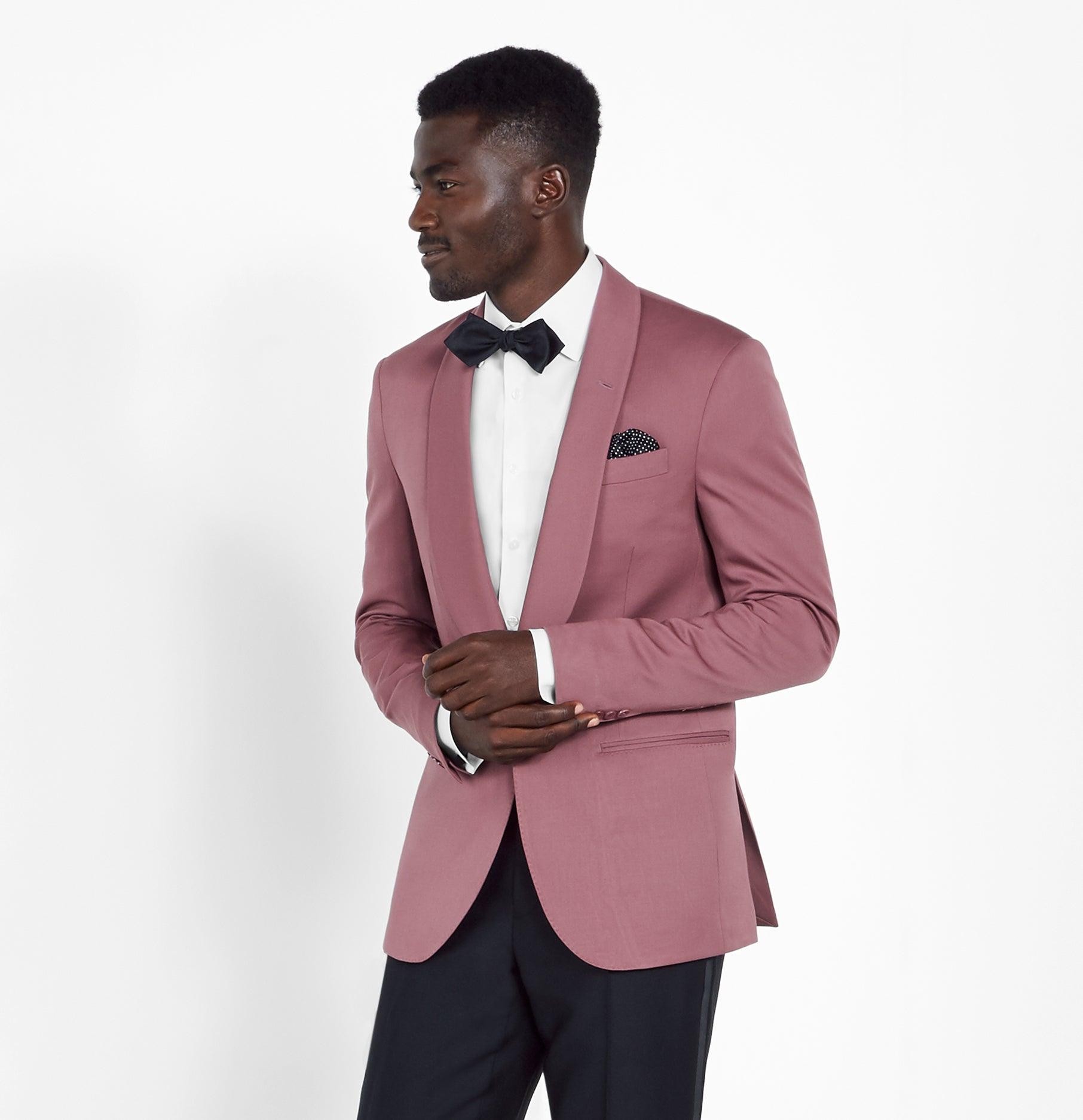 Dark Pink Tuxedo: Rose Shawl Jacket Tuxedo