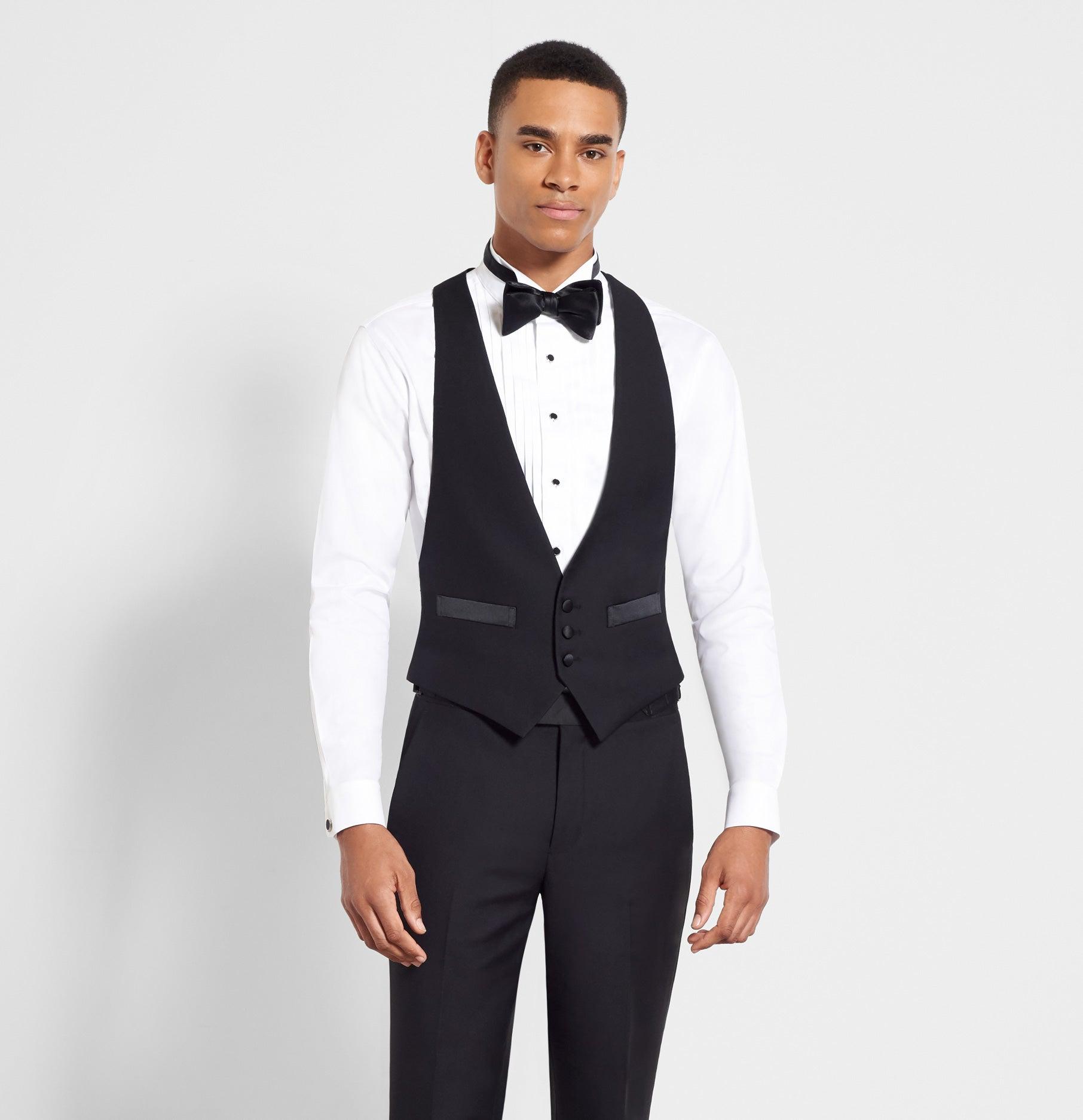 7f5eef082a6f Black Low Cut Tuxedo Vest