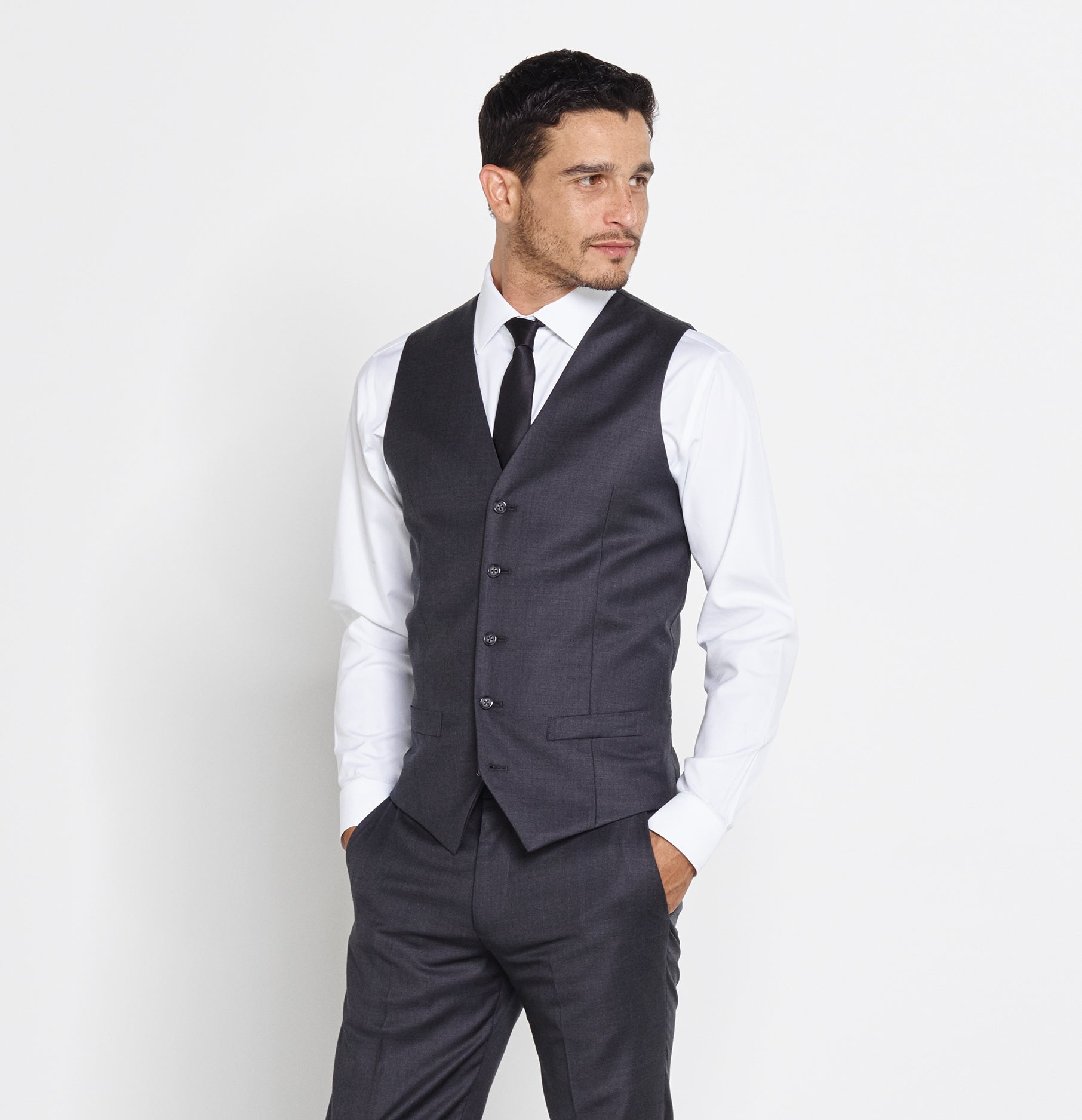 Charcoal Suit Vest | The Black Tux