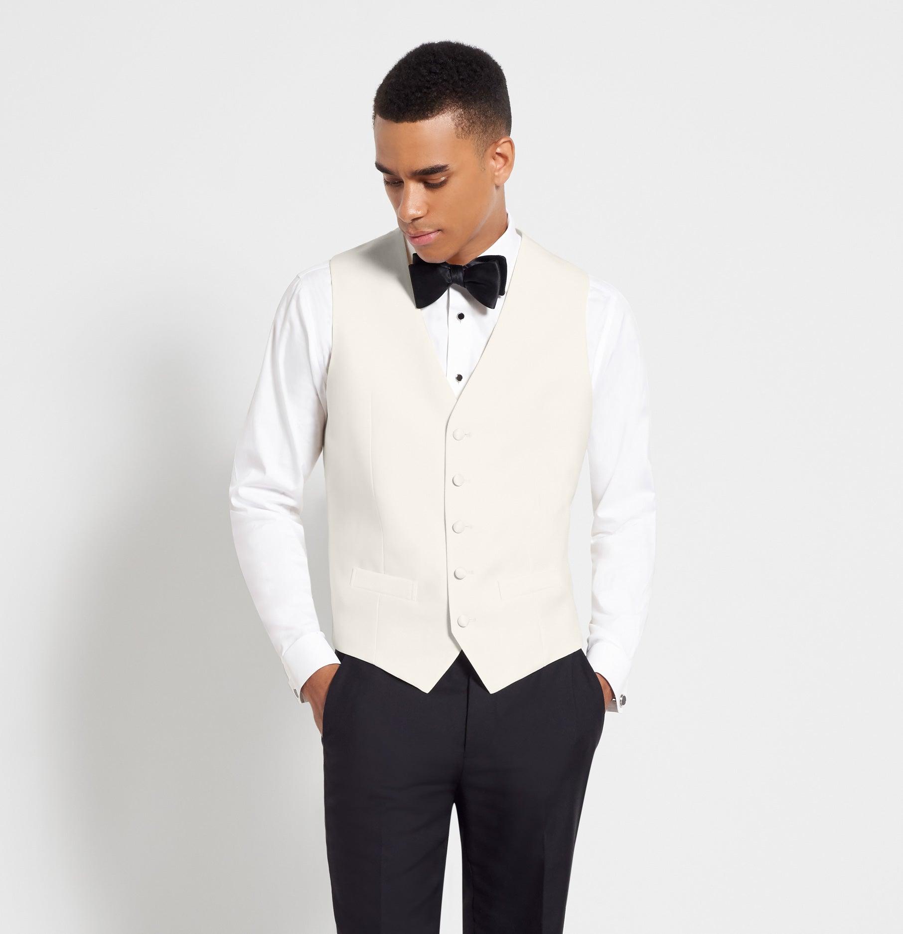 Ivory Satin Tuxedo Vest