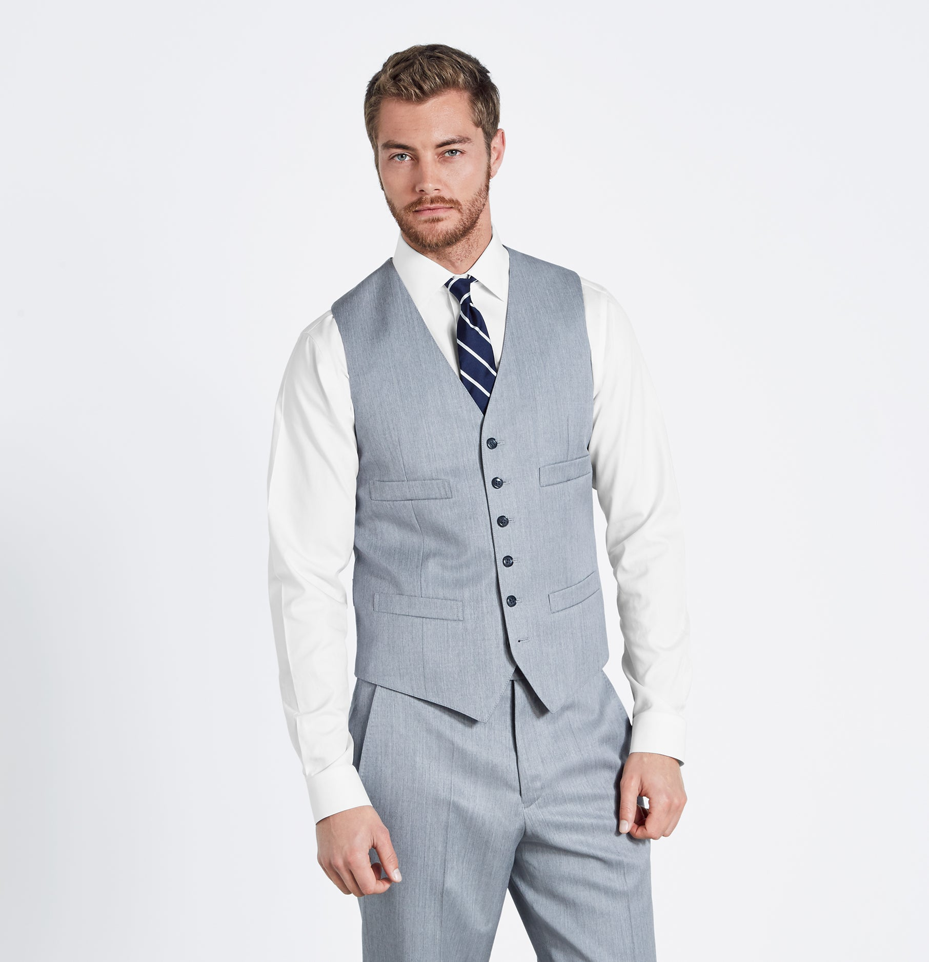 Light Grey Suit Vest | The Black Tux