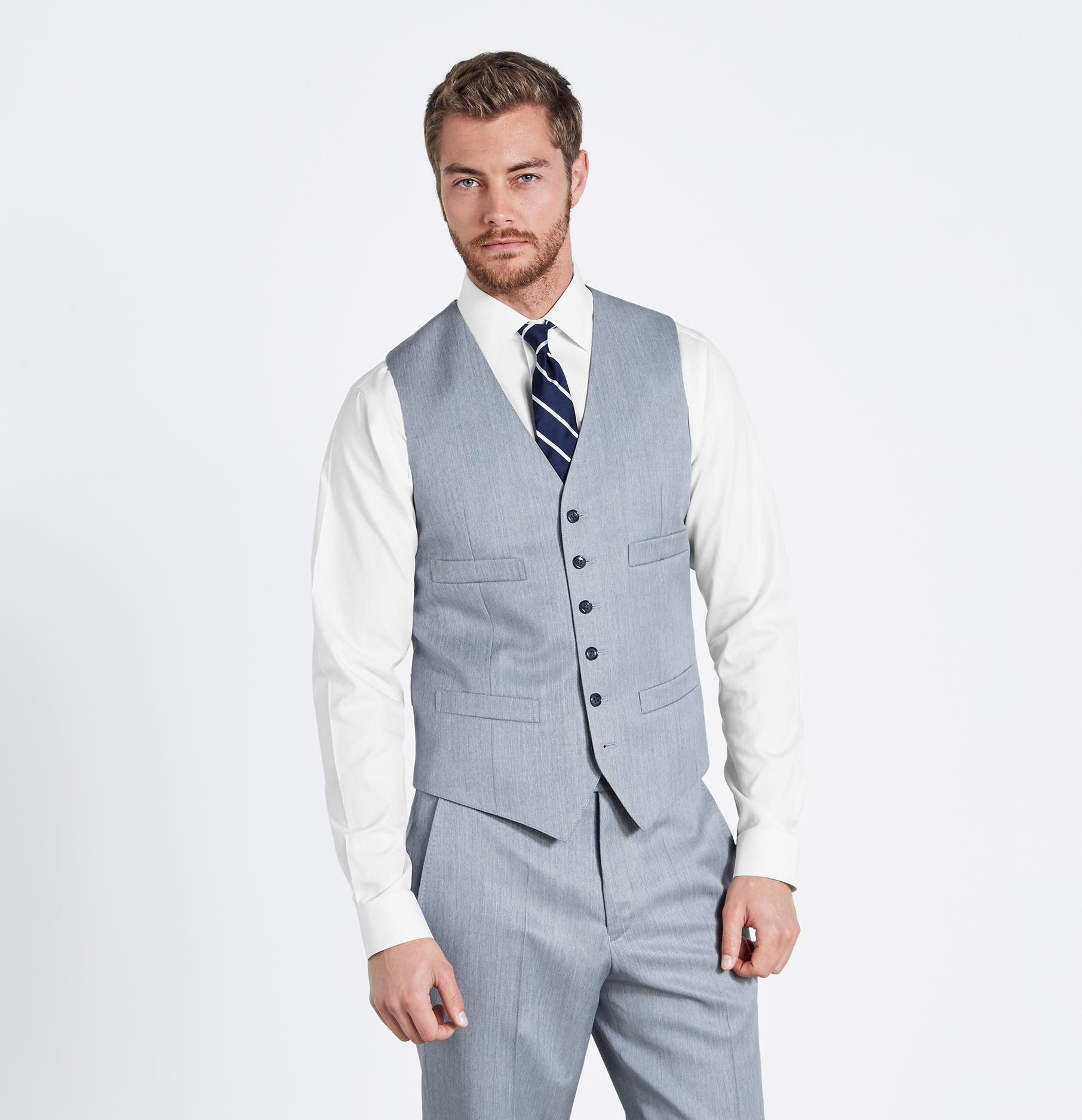 Light Grey Suit Vest | The Black Tux